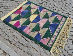 "Turkish Shaggy Rug 43"" x 59"" Vintage Hand Wowen Wool Tulu Kilim 110 cm x 150 cm #Turkish"