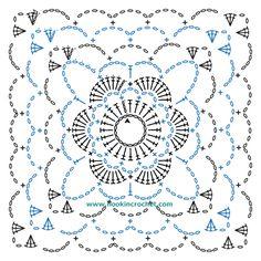 Square Motif Design Crochet Chart Pattern created using the HookinCrochet� Crochet Symbols Font Software