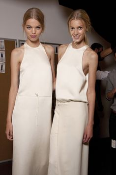 Beautiful lines and drape:   Daphne Groenveld and Sigrid Agren backstage at Calvin Klein Spring 2011