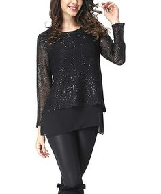 Loving this Black Shimmer Knit Sheer Hem Sweater on #zulily! #zulilyfinds