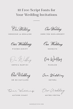 10 Free Script Fonts for Wedding Invitations - sandrapicco. Brush Script Font, Modern Script Font, Wedding Script Font, Wedding Fonts Free, Wedding Calligraphy Fonts, Diy Wedding, Wedding Typography, Modern Calligraphy, Wedding Invitation Fonts