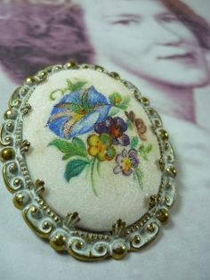 SALE Vintage Floral Brooch  Intricate Cameo by SillyPicklesVintage, $25.00