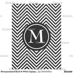 Monogrammed Black & White Zigzag-Fleece Blanket #1
