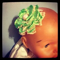 $4 - Handmade Flower - Green Satin Ribbon and Lace Hair Clip 226