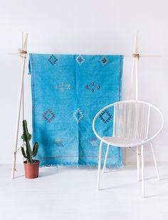 "Vintage Moroccan Kilim Rug, ""The Noble,"" Turquoise, Cactus Silk Rug, Berber Rug, Overdyed Rug, Boho, Flatweave, Bohemian, Geometric Pattern"