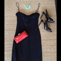 """Sexy Black Dress Beautiful spaghetti strap cocktail dress.  Bandeau twist in front, very flattering!! I am 5'6"""" and this comes down just at the bottom of my knees.  I only wore this once to my sisters wedding.  Excellent condition! Laundry by Shelli Segal Dresses"""