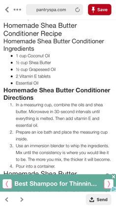 Shea butter conditioner Homemade Face Lotion, Homemade Skin Care, Homemade Beauty, Baking Soda Shampoo, Diy Shampoo, Shampoo Bar, Homemade Products, Bath Products, Shea Butter Conditioner Recipe