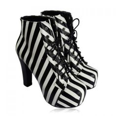 Wholesale Party Women's Short Boots With Striped and Chunky Heel Design (STRIPES,40), Boots - Rosewholesale.com