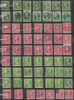 63 US 1¢ Franklin, # 184 - 3¢ Washington - green soft paper. # 634 - 2¢ Washingt