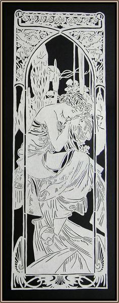 Paper Cut Art Nouveau 'Slumber'