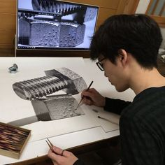 The Artist at Work. Dedication to Achieve Drawing Perfection. By Kohei Ohmori.