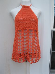Tangerine Halter top/dress/babydoll empire by Elegantcrochets