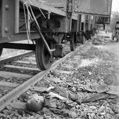 The corpse of a prisoner of the Dachau concentration camp, April 18, 1945. When they actually arrived at the concentration camps the Nazis would throw them out and tell them to walk to the camp if they could not they were shot