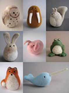 "These are so adorable, especially the walrus!!      ""Cute collection of my Woolnimals from my  Etsy shop - www.woolnimals.etsy.com"" Wool Carpet, Dinosaur Stuffed Animal, Baby Shoes, Wool Rug, Kid Shoes"