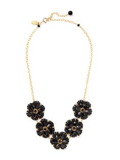 Miguel Ases - Black Flower Station Necklace