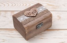 Rustic Wedding Ring Box Wedding Ring Holder Ring Pillow Bearer Box with Hearts…