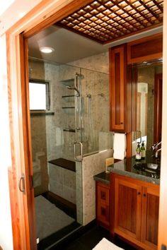 Zen Bathroom Addition with Limestone and Custom Cabinets .  By Santa Cruz Design + Build, http://www.santacruzdesignbuild.com/