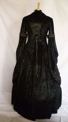 medieval gown pagan costume black and gold by DJmedievaldresses