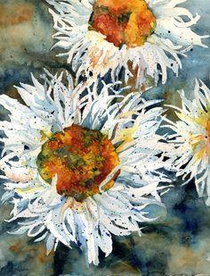 Watercolor Shasta Daisies Original Painting, Daisy Art, Daisy Decor, White Daisies