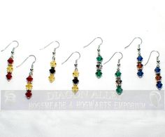 Hogwarts House Color Earrings - Limbs and Fingers Jewelry shop. $5.00, via Etsy.