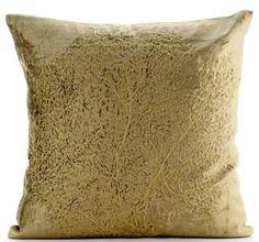 """Zardozi Golden Tree 16""""X16"""" Velvet Sage Green Pillow Cases - Gold Curiosity"""