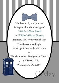 Doctor Who wedding invitations Weddings Wedding and Wedding stuff