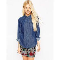 ASOS Denim Sharp Collar Shirt In Mid Wash Blue ($46) ❤ liked on Polyvore featuring tops, indigo, tall shirts, blue shirt, asos shirt, long length shirts and long shirts