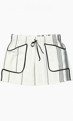 Striped and sporty, this drawstring miniskirt looks good with a slouchy tank or dressed up with a blazer.