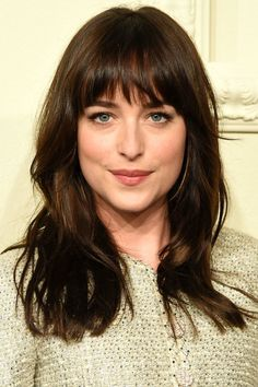 Attractive fringe hairstyles a classic, full fringe with a choppy finish looks great on dakota johnson. - Yasmin Fashions : Attractive fringe hairstyles a classic, full fringe with a choppy finish looks great on dakota johnson. Bangs With Medium Hair, Medium Hair Styles, Curly Hair Styles, Thick Hair Bangs, Fringe With Long Hair, Long Hair Fringe Styles, Haircut For Medium Length Hair, Mid Length Hair With Bangs, Medium Textured Hair