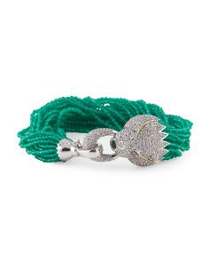 image of Sterling Silver And 14k Gold Pave Panther Head And Green Agate Bracelet