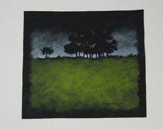 Original Acrylic Painting Night Scene Trees by LoringLavenArt, $18.00