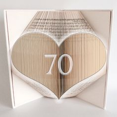 Book Folding Pattern - Bookami® - 70 Heart - 789 Pages/395 Folds - Plus Free Book Folding Tutorial! Instant Download Pattern PDF - 70th Gift by Bookami on Etsy