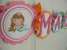 Little Princess Mermaid Birthday Party Name by sweetheartpartyshop, $22.00