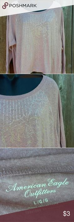 AEO Foiled Blouse AEO Pink foiled rose design Great shape. Bit of a high low. 7-1-17 American Eagle Outfitters Tops Tees - Long Sleeve