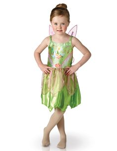 Disfraz clásico Campanilla™ niña: Este disfraz de hadaCampanilla™ para niña tiene licencia oficial Disney.Incluye vestido y alas.El vestido es verde y satinado con tirantes elásticos.La parte superior tiene...