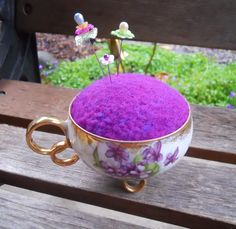 Needle Felted Pin Cushion in Vintage Pansy Teacup by Tami Medwid