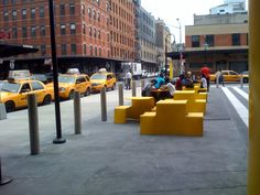 The New York Taxi yellow Picnik table sets from JANUS et Cie at the Highline Standard Hotel, New York