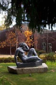 """""""Mountain,"""" a 1937 sculpture by artist Aristide Maillol, sits in the garden of the Norton Simon Museum in Pasadena."""