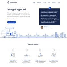 Landing homepage for a Tech Recruitment platform The landing page will be used as a homepage for a Tech recruitment platform (web app), aimed at companies and candidates Web Platform, Landing Page Design, Character Design, Tech, Technology