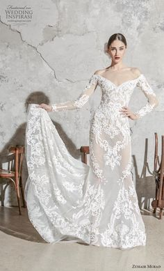 zuhair murad spring 2020 bridal long sleeves off the shoulder v neck full embellishment elegant fit and flare mermaid wedding dress chapel train mv -- Zuhair Murad Spring 2020 Wedding Dresses Zuhair Murad Mariage, Zuhair Murad Bridal, Zuhair Murad Dresses, Bridal Collection, Dress Collection, Couture Collection, Wedding Dress Crafts, Dress Wedding, Wedding Shot
