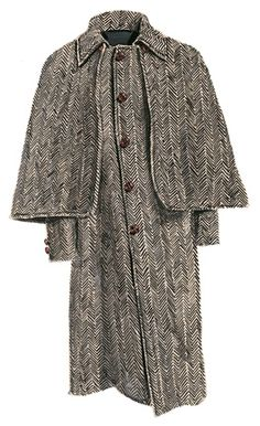 """Black and ecru coat woven from soft lambswool with a wide (1"""") herringbone pattern with flecks of grey and tan woven in."""