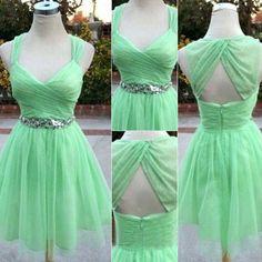 Bg657 Charming Green Prom Dress,Chiffon Prom Dresses,Short Prom Dress,Homecoming Dress