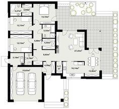 PL ™ - progetto casa TP Arteo - DOM - design per la casa pronto House Plans Mansion, Bedroom House Plans, Dream House Plans, Single Storey House Plans, One Storey House, Modern Family House, Modern House Plans, Home Design Floor Plans, Architectural Design House Plans