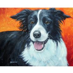 Border Collie Art Print of Original Painting Dog by DottieDracos