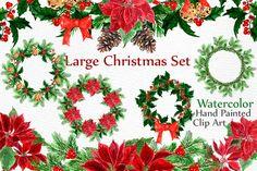 Christmas Wreaths Clip Art by LeCoqDesign on @creativemarket