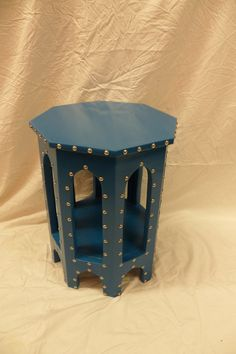 Blue Moroccan Tea Table with Silver Studs