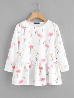 SheIn offers Allover Flamingo Print Smock Top & more to fit your fashionable needs. Source by judako - Indian Fashion Dresses, Girls Fashion Clothes, Teen Fashion Outfits, Mode Outfits, Girl Fashion, Fast Fashion, Fashion Online, Stylish Dresses For Girls, Stylish Dress Designs