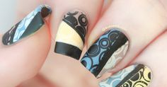 Recreation of Nails by Cassis - Retro Geometrics using Pueen Love Elements Stamping