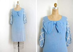 vintage 1960s dress / Mod 60s shift dress light blue with lattice lace puff sleeves and large bow $98
