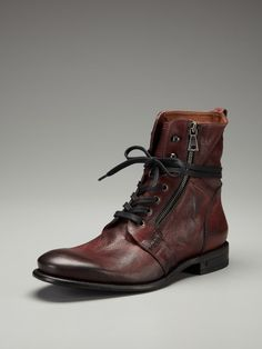 john varvatos burnished leather lace up boot in brown
